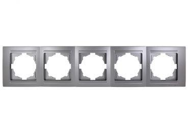 Gunsan,Moderna,01291500000146,5-fach Rahmen,Installation,Elektro,Unterputz,für 5 Steckdosen,Schalter,Silber,Erkelenz
