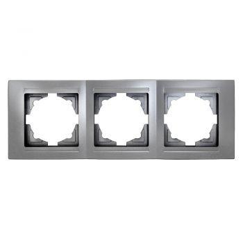 Gunsan,Moderna,3-fach Rahmen,für 3 Steckdose,Schalter,Dimmer,Silber,01291500000143,Erkelenz