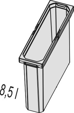 Naber, 8012332, Ersatzeimer, hellgrau, 8,5 Liter, Erkelenz