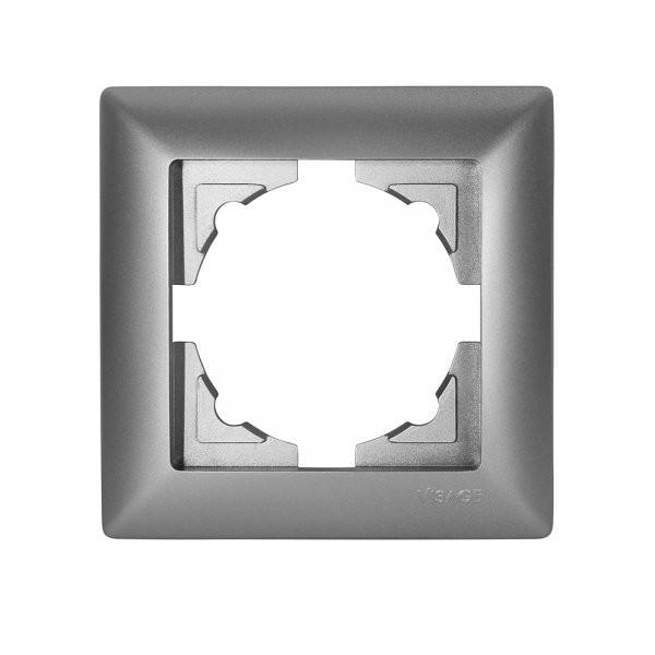 Gunsan, 1281500000140, Visage, 1-fach Rahmen, für 1 Steckdose, Schalter, Dimmer, Silber, Erkelenz