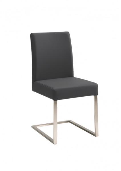 Naber 3035336, Zest 1, Gestell Edelstahl, Bezug schwarz. Stuhl, freischwingend, Kunstleder, Edelstahl, Erkelenz,
