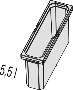 Naber 8012325, Ersatzeimer hellgrau, 5,5 Liter