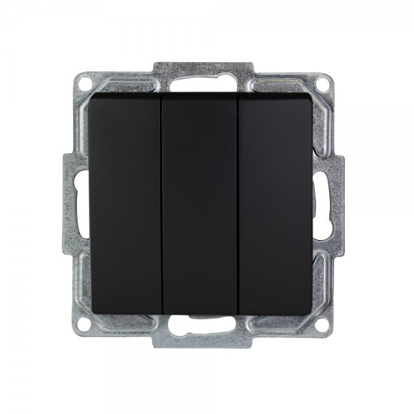 Gunsan, Visage, 3-fach Schalter Serienschalter, Unterputz, Schwarz, 01283400150160, Erkelenz