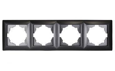Gunsan,Visage,4-fach Rahmen, für 4 Steckdose,Schalter,Dimmer,Dunkelsilber,Erkelenz