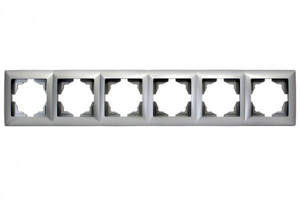 Gunsan, 1281500000147, Visage, 6-fach Rahmen, für 6 Steckdosen, Schalter, Dimmer, Silber, Erkelenz