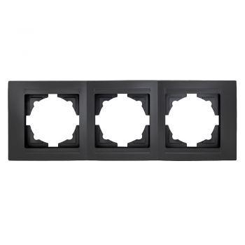 Gunsan,Moderna,3-fach Rahmen, für 3 Steckdose,Schalter,Dimmer,schwarz,01293400000143,Erkelenz