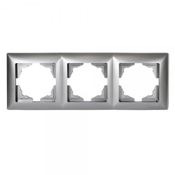 Gunsan Visage 3-fach Rahmen für 3 Steckdosen Schalter Dimmer Silber