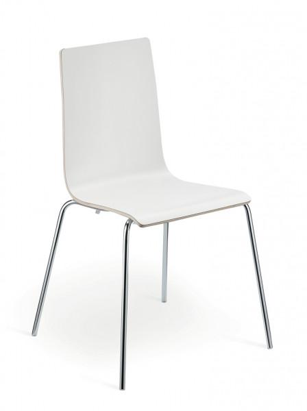 Naber 3037133, Lilly 1, Gestell Edelstahl, Sitz Laminat weiß, Stuhl, sitzen, Tisch, Küche, Erkelenz