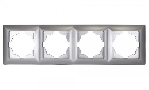 Gunsan, 1281500000145, Visage, 4-fach Rahmen, für 4 Steckdosen, Schalter, Dimmer, Silber, Erkelenz