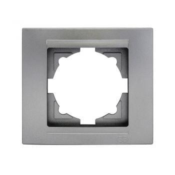 Gunsan,01291500000140,Moderna,1-fach Rahmen, für 1 Steckdose,Schalter,Dimmer,Silber,Erkelenz
