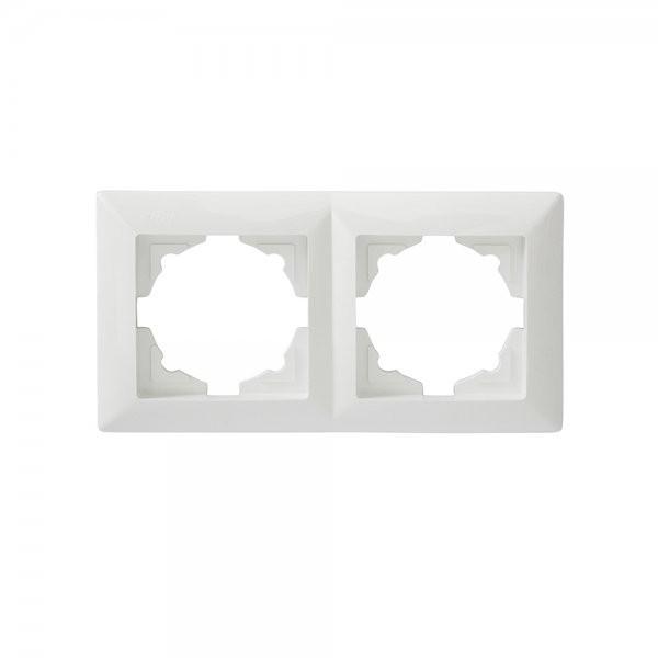 Gunsan 1281100000141, Visage, 2-fach Rahmen, für 2 Steckdosen, Schalter, Dimmer, Weiss, Erkelenz