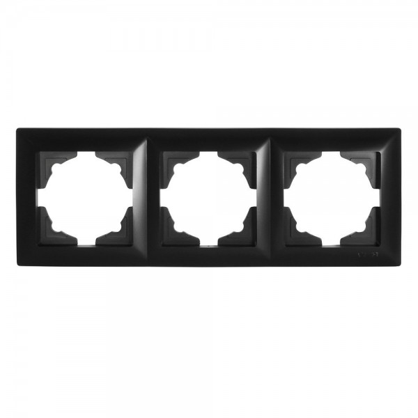 Gunsan Visage 3-fach Rahmen für 3 Steckdosen Schalter Dimmer Schwarz
