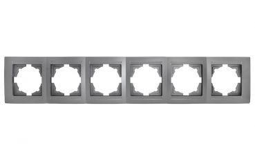 Gunsan,Moderna,6-fach Rahmen,für 6 Steckdose,Schalter,Dimmer,Silber,01291500000147,Erkelenz