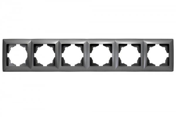Gunsan, Visage, 6-fach, Rahmen, für, 6 Steckdosen, Schalter, immer, Dunkelsilber, Erkelenz