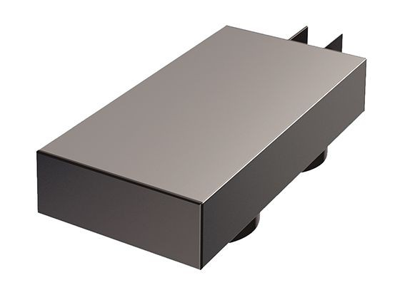 Powerbox — zwei Steckdosen, 230 V, 16 A — H 40 mm B 200 mm T 100 mm — rechts und links einsetzbar — 2000 mm Netzanschlussleitung, Stecker lose beigelegt