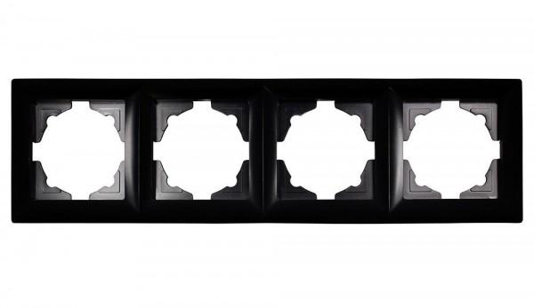 Gunsan Visage 4-fach Rahmen für 4 Steckdosen Schalter Dimmer Schwarz