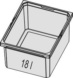 Naber, 8012331, Ersatzeimer, hellgrau, 18 Liter, Erkelenz