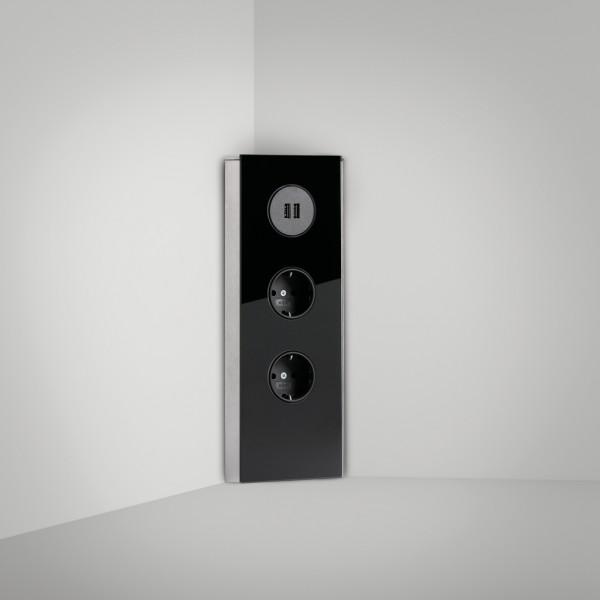 Naber, 7053124, Mira Eck Glas USB A, schwarz, Erkelenz