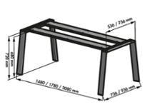 Naber 3032186, Tischgestell Cone für Granit, edelstahlfarbig, B 2100, T 950, Längsstreben, Flachprofilen, Verbindungszubehör, Erkelenz