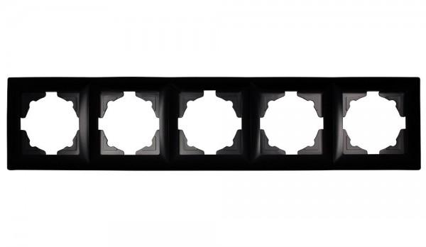 Gunsan Visage 5-fach Rahmen für 5 Steckdosen Schalter Dimmer Schwarz