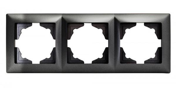 Gunsan Visage 3-fach Rahmen für 3 Steckdosen Schalter Dimmer Dunkelsilber