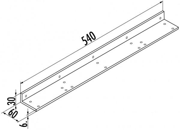 Naber, 3033083, Befestigungswinkel, für Anbautisch, alufarbig RAL 9006, L 540 mm, Erkelenz