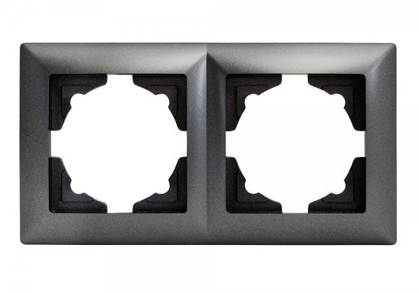 Gunsan, Visage, 2-fach, Rahmen, für, 2 Steckdosen, Schalter, Dimmer, Dunkelsilber, Erkelenz
