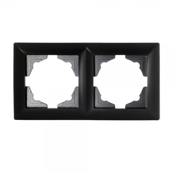 Gunsan Visage 2-fach Rahmen für 2 Steckdosen Schalter Dimmer Schwarz