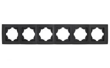 Gunsan Moderna 6-fach Rahmen für 6 Steckdose,01293400000147,Schalter, Dimmer, schwarz, Erkelenz