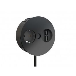 Naber, 7053171, Twist USB, schwarz matt, 1Schukosteckdose, Doppel USB, Charger (Ladestation), Erkelenz