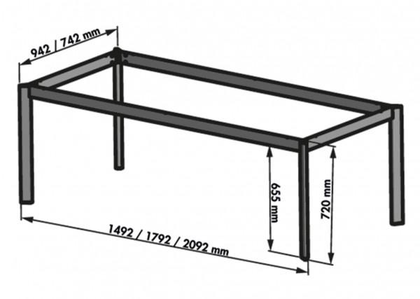 Naber 3032177, Tischgestell Frame, edelstahlfarbig, B 1800, T 950 mm, Untergestell, Tisch, Gestell, Erkelenz