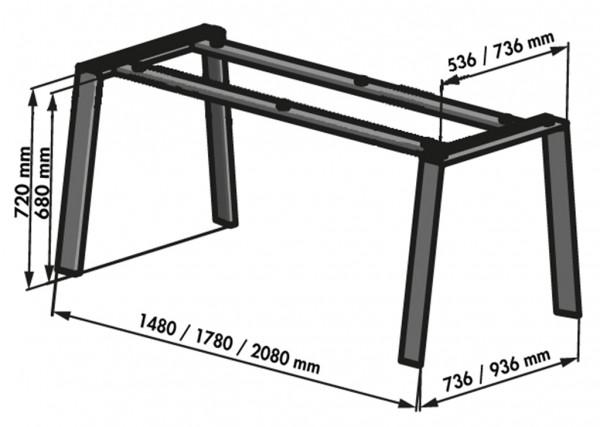Naber 3032172, Tischgestell Cone, edelstahlfarbig, B 2100, T 950 mm, Untergestell, Tisch, Gestell, Erkelenz