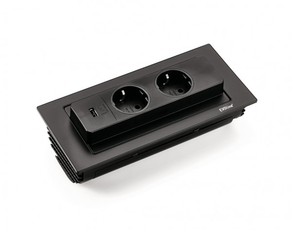 Naber 8031164, Evoline® BackFlip-USB, mit Schukosteckdosen, schwarz