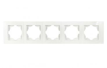 Gunsan Moderna, 5-fach Rahmen ,Steckdose, Schalter, Dimmer, weiß, 01291100000146, Erkelenz