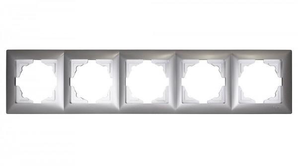 Gunsan, 1281500000146, Visage, 5-fach Rahmen, für 5 Steckdosen, Schalter, Dimmer, Silber, Erkelenz