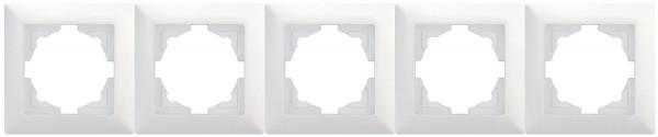 Gunsan 01281100000146, Visage, 5-fach Rahmen, für 5 Steckdosen, Schalter, Dimmer, Weiss, Erkelenz