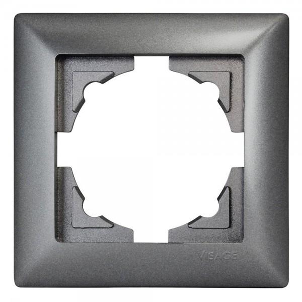 Gunsan Visage 1-fach Rahmen für 1 Steckdose Schalter Dimmer Dunkelsilber