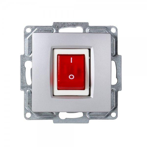 Gunsan, 01281500150163, Visage, beleuchteter, Ein-Ausschalter, für Durchlauferhitzer, usw. Unterputz, Silber, Erkelenz