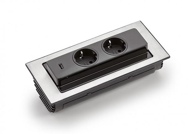 Naber, 8031151, Evoline® BackFlip-USB, mit Schukosteckdosen, Edelstahl, Erkelenz